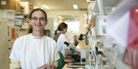Dr Aude Fahrer in the lab
