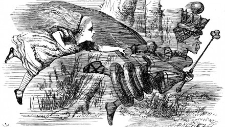 The Red Queen's Race, as depicted by John Tenniel in Chapter Two – The Garden of Live Flowers
