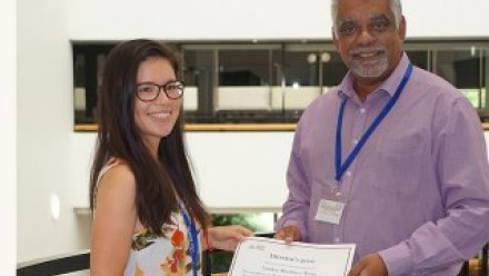 Linden Muellner-Wong received her RSB Director's Prize in Honours award from RSB Director, Allen Rodrigo. Image Sharyn Wragg.