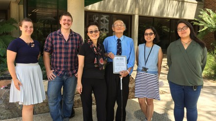Professor Hiroto Naora (centre) with current and former award winners, from left, Ariel Ivanovici, Tom Rowell, Flor Danila and Holly Yuan, and his daughter, Honami Naora, an ANU biology alumna, now Associate Professor at the MD Anderson Cancer Center in H