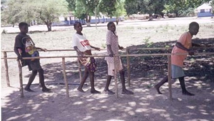 Three boys and a girl at Liupo Rehabilitation Centre, Mozambique
