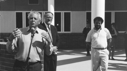Opening of the Gould Wing by Sir David Attenborough in 1996. Image credit: ANU
