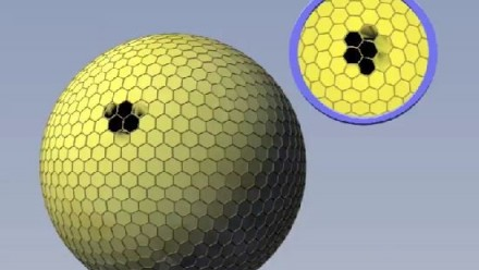 The small pseudopupil of a spherical compound eye.