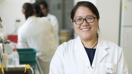 Xiaojun Yuan in the lab