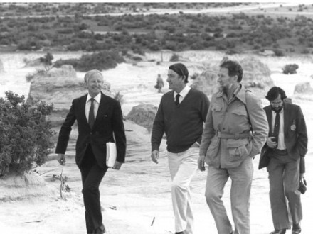 Professor Slatyer (as Australian Ambassador to UNESCO ) with NSW Premier Neville Wran, at Lake Mungo, c 1981
