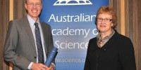 John Evans accepting his election. Photo copyright of Mark Graham/ Australian Academy of Science